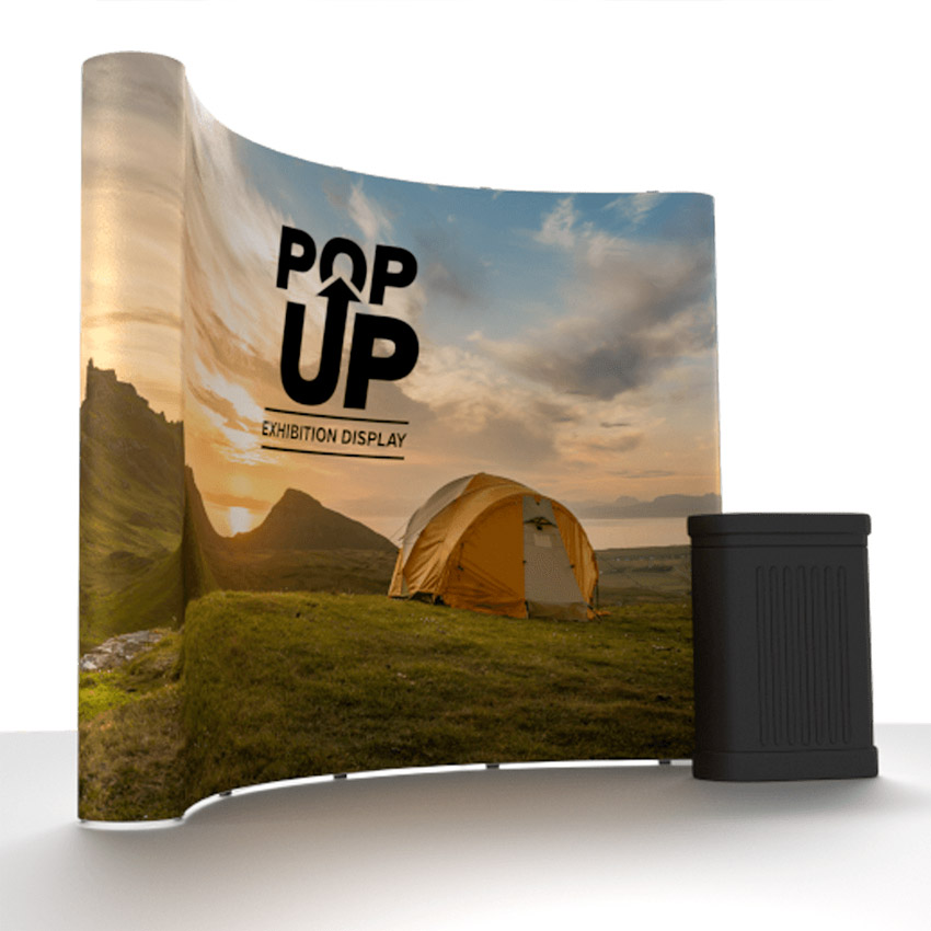 curved pop up exhibition stand king 39 s lynn printers business card print flyers leaflets. Black Bedroom Furniture Sets. Home Design Ideas
